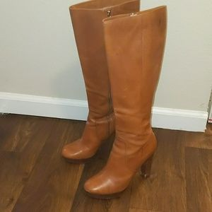 Michael Kors Brown Leather Heel Knee High Boots